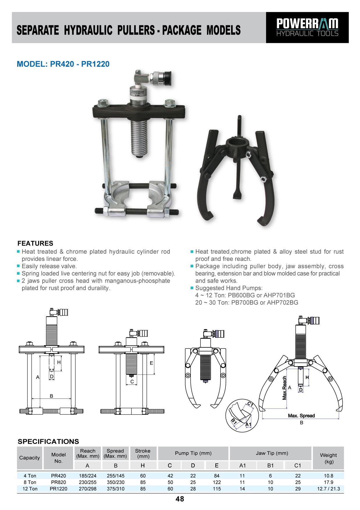 SEPARATE HYDRAULIC PULLER - PACKAGE MODEL PR420-PR1220